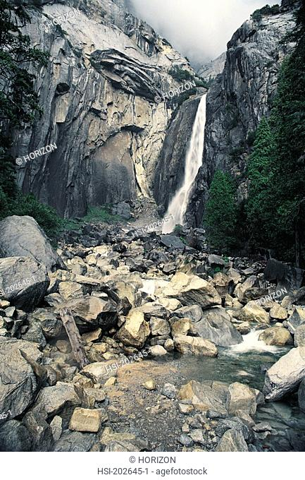 Scenic view of waterfall, Yosemite National Park, California, USA