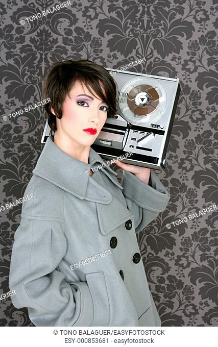 retro open reel tape woman listening music vintage 60s wallpaper