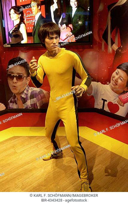 Bruce Lee figure in front of Madame Tussauds wax museum, The Peak Tower, Victoria Peak, Hong Kong Island, Hong Kong, China