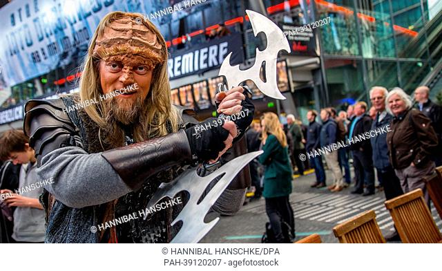 A fan dressed as a Klingon arrives at the movie premiere of 'Star Trek Into Darkness' in Berlin, Germany, 29 April 2013. The movie will come to German cinemas...