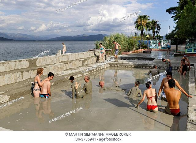 People taking a mud bath, Sultaniye Thermal Baths at Lake Köycegiz or Köycegiz Gölü near Dalyan, Mugla Province, Turkish Riviera or Turquoise Coast, Aegean