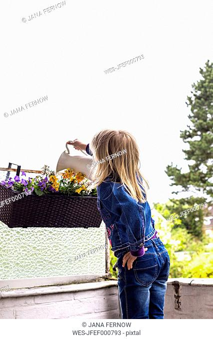 Back view of little girl watering plants on balcony