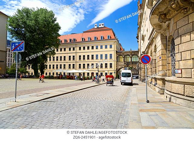Street View in the Old Town of Dresden, Saxony, Germany