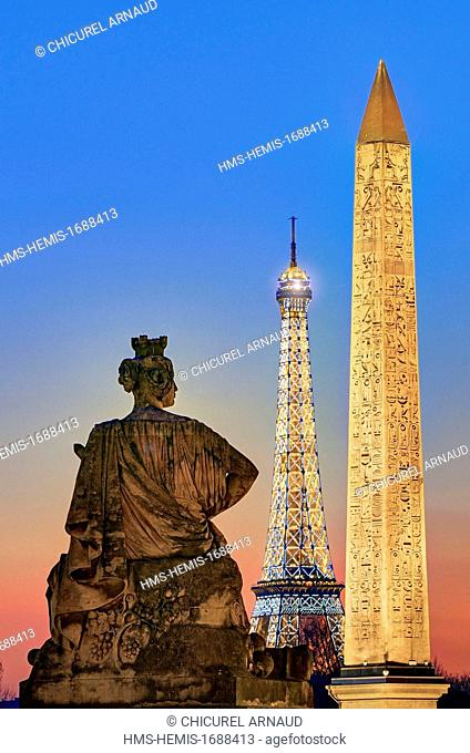France, Paris, area listed as World Heritage by UNESCO, Concorde square with the obelisk and the Eiffel tower in the background ( -c- SETE illuminations Pierre...