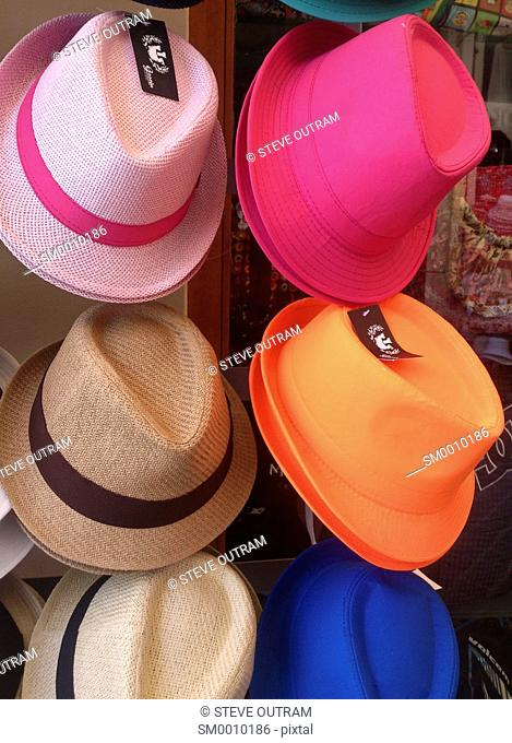 Summer Hats for sale, Chania, Crete, Greece