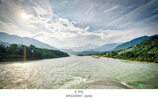 Ancient Dujiangyan irrigation system in Dujiangyan City; Sichuan province of China