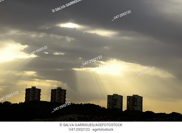 Silhouette of El Saler apartment buildings, Valencia, Spain
