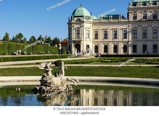 Palacio Belvedere , estilo barroco, construido entre 1714 y 1723 para el príncipe Eugenio de Saboya, Viena, Austria, europe