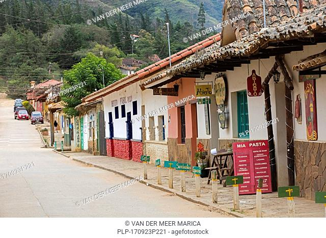 Street with shops and café offering wifi in the town Samaipata, Florida Province, Santa Cruz Department, Bolivia
