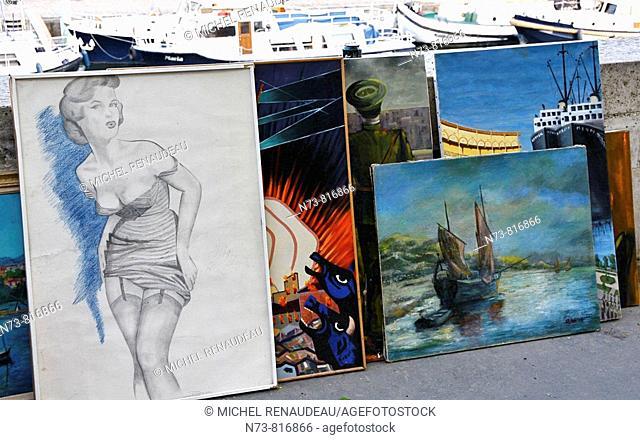 Paintings, Place de la Bastille, Paris, France