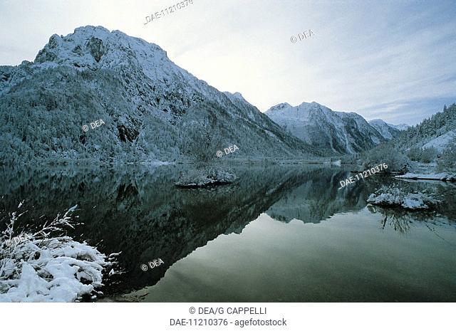 Lower Lake of Fusine, Alpine lake of glacial origin, Tarvisio forests, Friuli-Venezia Giulia, Italy