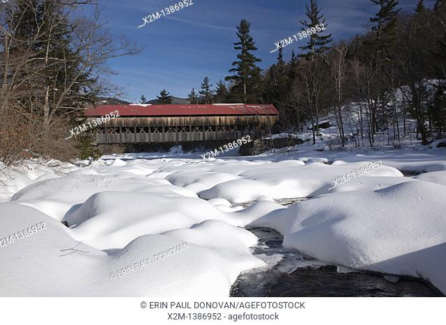 Albany Covered Bridge which crosses the Swift River in Albany, New Hampshire, USA just off the Kancamagus Highway