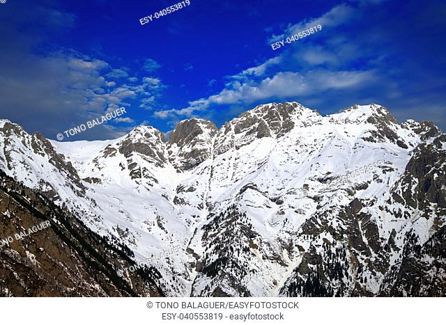 Benasque and Cerler mountains in Pyrenees of Huesca in Spain