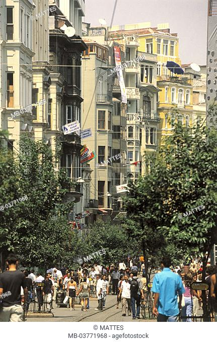 Turkey, Istanbul, Taksim quarter,  Istiklal Caddesi, pedestrians,  Middle east, fore Orient, Near east, Ottoman empire, city, district, shopping center