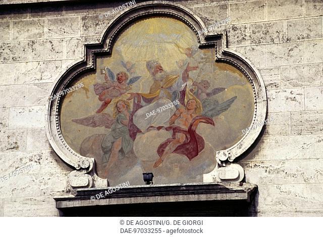 Facade of St Peter's church, Novi Ligure, Piedmont, Italy, 20th century. Detail