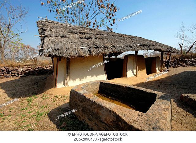 Tribal Gadaba hut. Odisha tribe. Manav Sangrahalaya, Bhopal, Madhya Pradesh, India