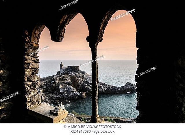 Portovenere, La Spezia Province, UNESCO World Heritage Site, Liguria, Italian Riviera, Levante, Italy. The church of S. Pietro