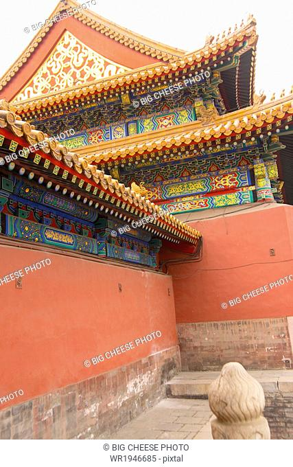 Colorful, ornate buildings in the Forbidden City, Beijing, China