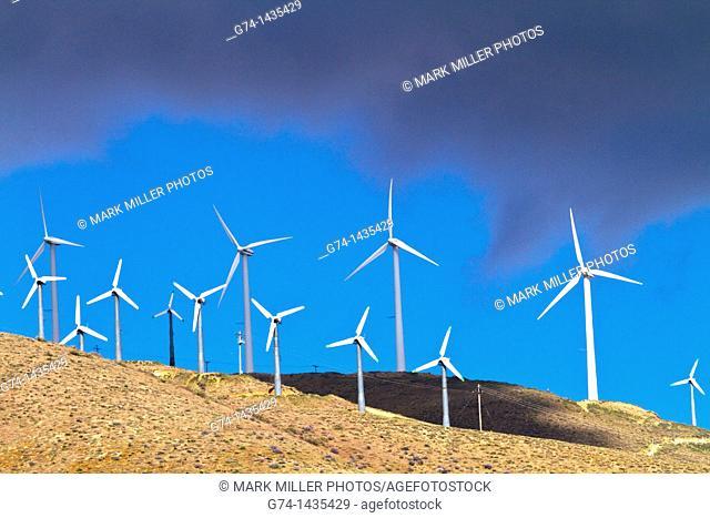 Modern windmills in Southern California, USA