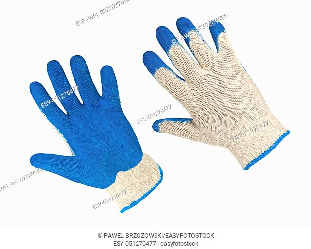Safety gloves isolated on white background. Protective worker gloves