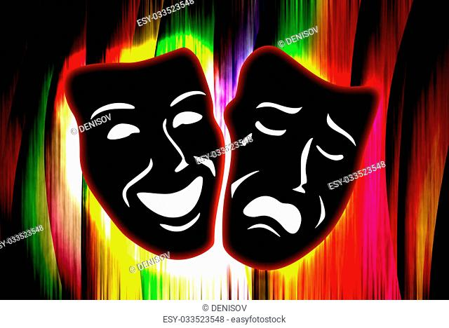 colorful curtain with mask