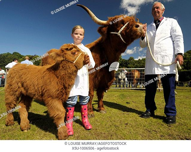 Award winning Highland cow breeder, Ronnie Shepherd with Prize cow Reserve champion Highland accompanied by his grand daughter Emma Gillespie aged 7 with her...