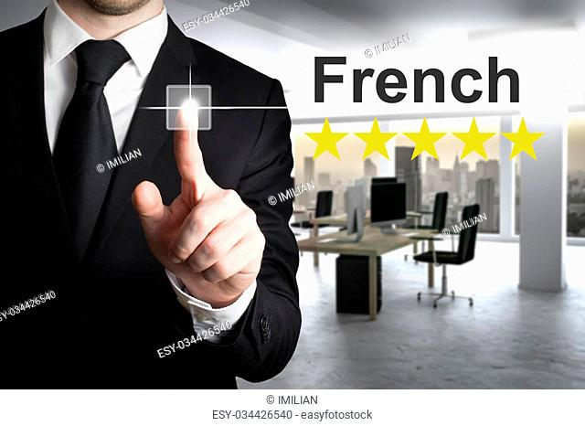 businessman translator in office writing french in the air