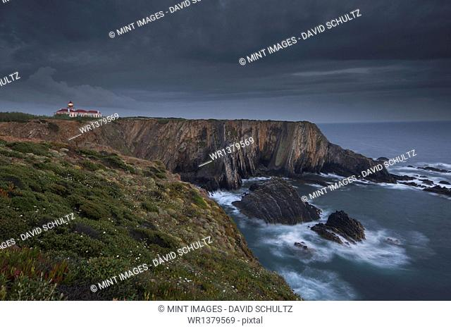 Cabo Sardao Lighthouse is a historic light on the cliffs along the coast of the Cabo Sardao in Portugal