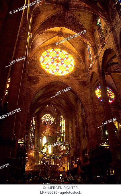 Inside view of the cathedral La Seu, Palma de Mallorca, Mallorca, Spain