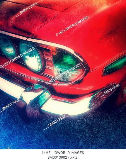 Classic car bumper headlights and chrome