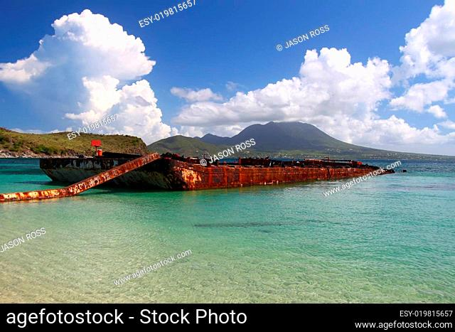 Wrecked Barge on St Kitts