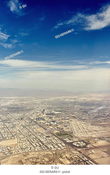 Aerial view of desert development, Nevada, USA