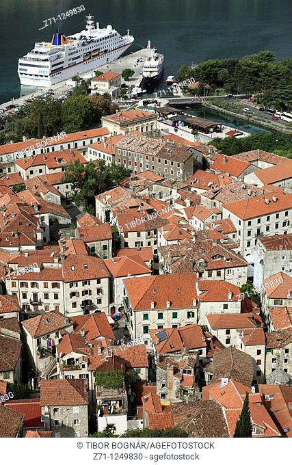 Montenegro, Kotor, old town, bay, cruise ship, general aerial view