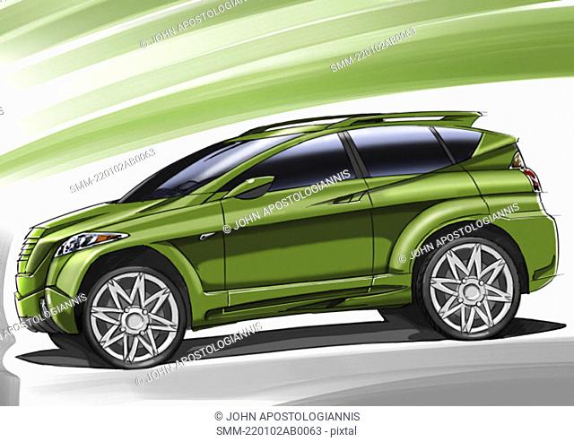Metallic green car with green background