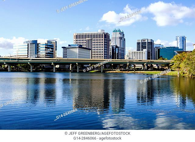 Florida, Orlando, Lake Lucerne, downtown, view, water, reflection, office buildings, highway bridge, city skyline