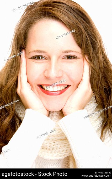 Young attractive woman with scarf is smiling happy