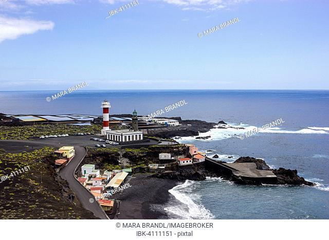 Coastline with Teneguía saltworks, old and new lighthouse, south cape Punta de Fuencaliente, La Palma, Canary Islands, Spain