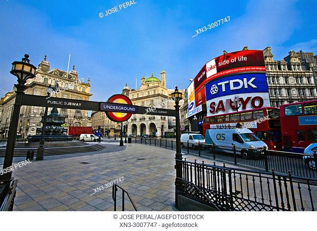 Underground sign, Subway, Piccadilly Circus, City of Westminster, London, England, UK, United Kingdom, Europe