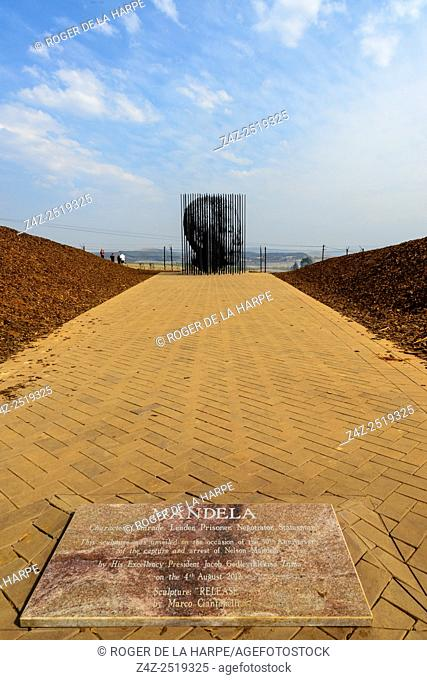 Monument to Mandela comprising of 50 steel columns depicting his face to commemorate 50 years since Mandela was arrested and charged for treason at this...