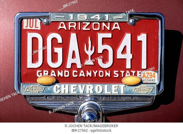 USA, United States of America, Arizona: Licence plate