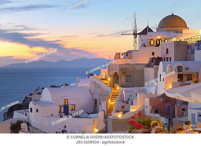 View of Oia, Santorini, Oia Village, Santorini, Aegean Island, Cyclades Islands, Greek Islands, Greece, Europe