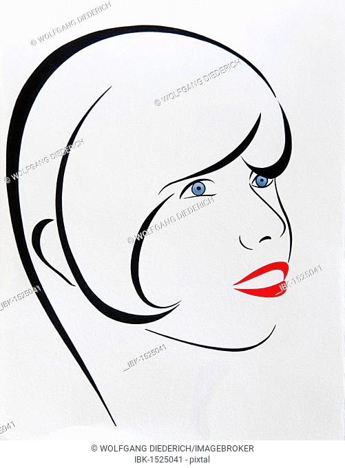 Portrait, a young woman's face, drawing, artist Gerhard Kraus, Kriftel, Germany