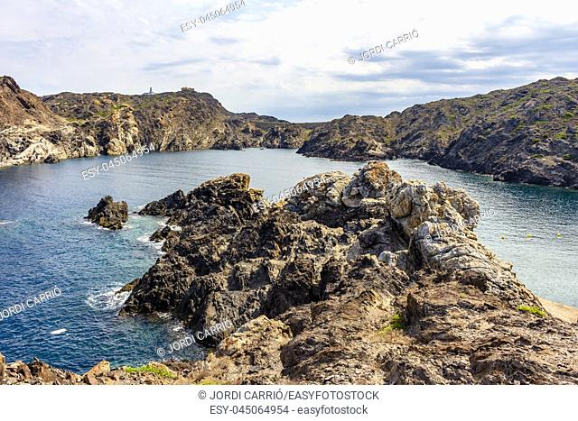 View from Geopark of Tudela Culip Creek with the lighthouse of Cap de Creus in the background