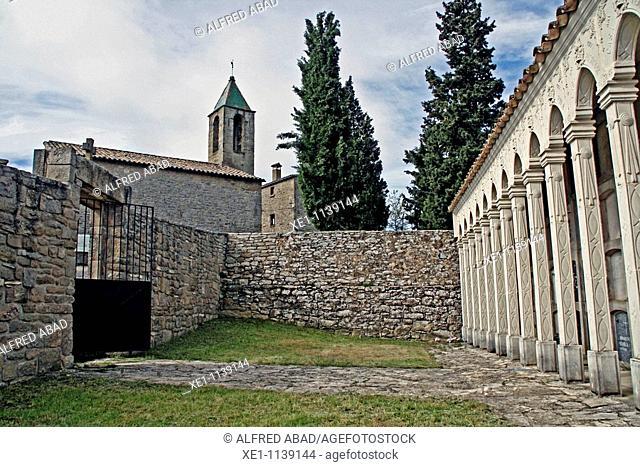 Cemetery and bell Molsosa, Solsones, Catalonia, Spain