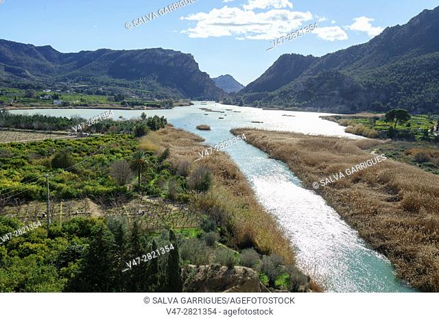 Panoramica of the river Segura and the reservoir of Ojos, Blanca, Murcia, Spain, Europe