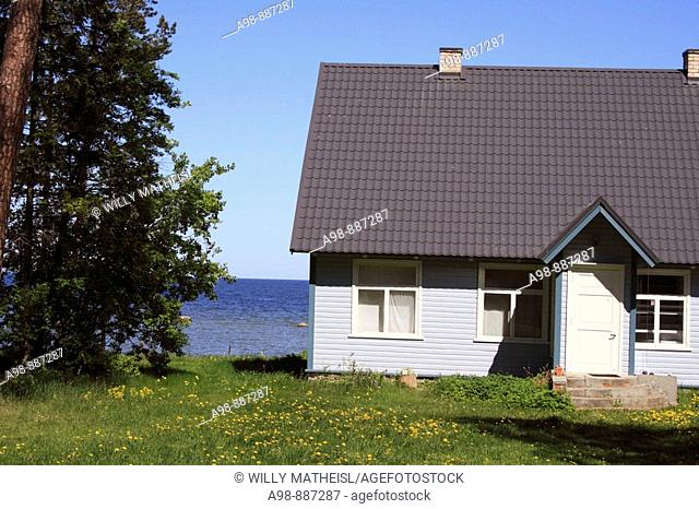 traditional wooden summer house by the sea in Estonia, Baltic Sea, Baltic States, Northeast Europe