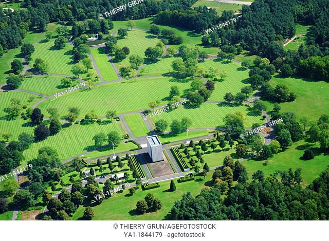 Aerial view of the largest WWII american military cemetery in Europe 10 489 graves, Saint Avold, Moselle, Lorraine, France