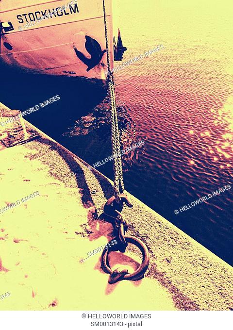 Moored boat, Stockholm, Sweden, Scandinavia
