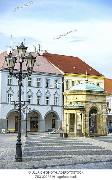 Jicin, Bohemian Paradise (Cesky Raj), Czech Republic - View across Wallenstein Square, the local town square, showing the Coronation Well