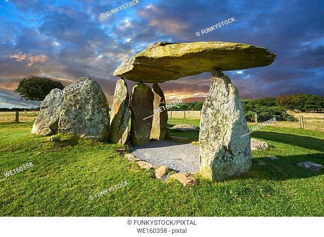 Pentre Ifan a Neolithic megalitic stone burial chamber dolmen built about 3500 BC in the parish of Nevern, Pembrokeshire, Wales